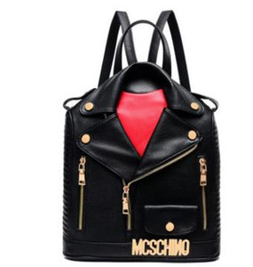 2019 New Design Backpack High Quality Men Women PU Leather Jacket Bags Clothing Shoulder Bag Day Clutch Purse Bags Motorcycle Punk