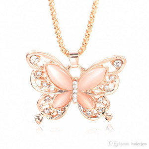 Wholesale Gold Chain Beautifully Necklace Fashion Rose Gold Plated Opal Butterfly Pendant Necklace Sweater Chain Gift Charm Butterfly Necklace