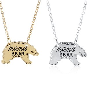 Wholesale Mama Bear Polar Bear Necklace Animal Pendant Necklaces Mother Necklace Mothers Day Gift for Mom Fasion Jewelry