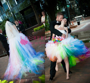 Wholesale 2020 Rainbow Colorful Tulle Wedding Dresses Halter Neck Corset Back Lace Up Hi Low Sweep Train Garden Beach Bridal Gown Custom Made Hot Sale
