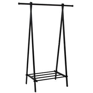 Wholesale Ultra light and Portable Contracted Fashionable Convenient One tier Garment Rack Metal Clothes Coat Shoe Storage Shelf Black