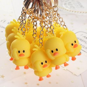 Wholesale Lovely Little Yellow Duck Pendant Key Ring Metal Alloy Silica Gel Dancing Duck Bags Car Handbag Cellphone Accessory DIY Cartoon Ducks Gifts