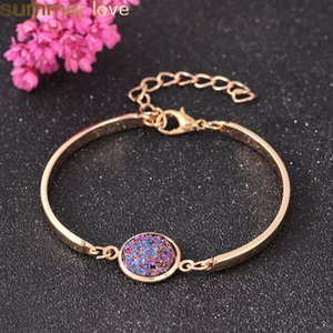 Wholesale Trendy Big Druzy Stone Bracelet Bangles For Women Girls Sparkling Druzy Resin Stone Adjustable Bracelets Handmade Jewelry Gifts
