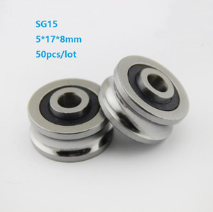 50pcs lot SG15 5x17x8mm U groove roller bearing roller wheel pulley ball bearing guide track 5*17*8mm