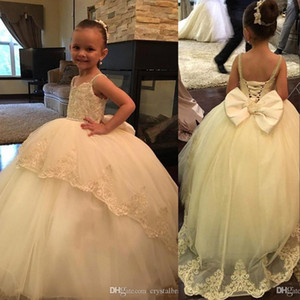 Wholesale girls corset kids resale online - New Puffy Flower Girl Dresses Spaghetti Straps Lace Beads Corset Back With Bow For Wedding Girls Pageant Dress Kids Children Communion Gowns