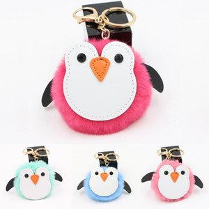 Wholesale Hot Sale Mini Keychain Keyring Metal Chain Cute Penguin Plush Car Bag Chains Charm Key Chain Mobile Phone Pendant Free DHL M128Y