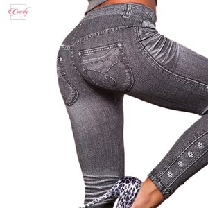 Wholesale Out Work Leggings Gray Fashion Style Deal Legging Woman Leggings Trendy Mid Super Demin Jeans Type Legging Jeans