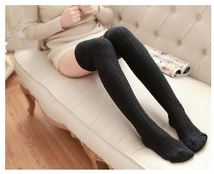 Wholesale Fashion Women Over Knee high stockings Thigh high stocking design socks colors drop shipping cotton Black Cheap