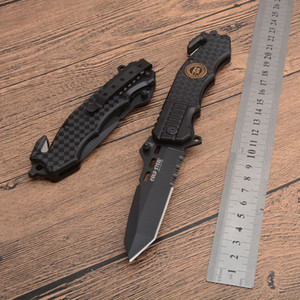 Wholesale serrated blade pocket knives resale online - Brand Cold Steel Knives Serrated Blade Camping Folding Pocket Knife Quick Open Tactical Survival Knife Black Outdoor Survival Gear