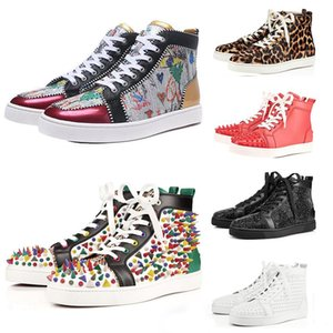 Wholesale Top Quality ACE Designer Brand Red Bottom Studded Spikes Flats Shoes Men Women Fashion High Cut Multicolor Party Lovers Casual Shoes