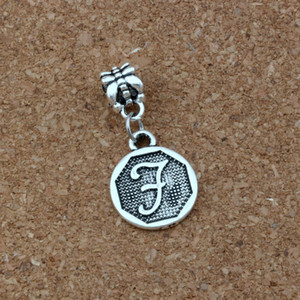 Wholesale 50pcs Letter quot F quot Alphabet Initial Charm Big Hole Dangle European Beads Fit Charm Bracelet Jewelry DIY Antique silver x30 mm A a