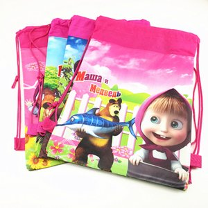 Wholesale 1pc cm Masha Bear Gift Bag Drawstring Backpack Non Woven Fabric Loot Bag Theme Party For Kids Girl Birthday Decoration
