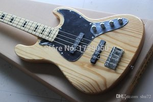 Wholesale v guitars china resale online - china Custom shop Top Quality JAZZ Strings natural Wood with V Battery active pickups Electric bass Guitar