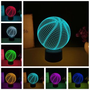Wholesale Creative D Sports Basketball Ball LED illusion RGB Color Change Gradient Vision Lamp Bedroom Night Light Best Athlete Child Boys Man Gifts
