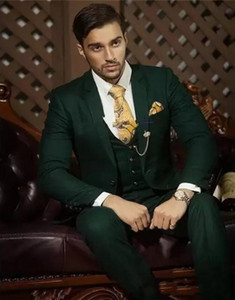 Wholesale Groom Tuxedos Dark Green Groomsman Wedding Notch Lapel Piece Suit Fashion Men Business Prom Jacket Blazer Jacket Pants Tie Vest