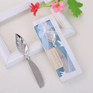Wholesale Leaf Shape Cake Pollisher Cream Knives Alloy Practical Tools Delicate Box Packing European Style Creative Wedding Small Gift Free DHL