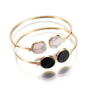 Wholesale Adjustable Punk Bracelets Bangles Round Faux Marble Stone Bracelet Bangle Decoration For Women Pulseira Open Cuff Bangle