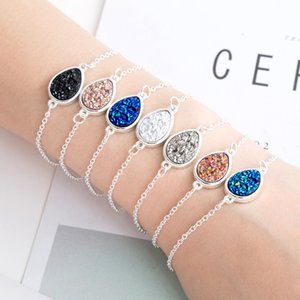 Wholesale 2019 designer Druzy Stone bracelets Water drop shape square Geometric Natural Drusy charm Bangle For women Fashion Jewelry