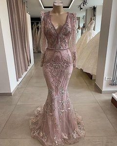 Luxury Dusty Pink Lace Appliqued Mermaid Prom Dresses Vintage Long Sleeves Sequined Beaded Evening Gown Long Formal Party Pageant Gown on Sale