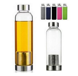 Wholesale filtered water bottles for sale - Group buy 22oz Glass Water Bottle BPA Free High Temperature Resistant Glass Sport Water Bottle With Tea Filter Infuser Neoprene Sleeve Cover BC BH3717