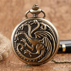 Game of Thrones House Targaryen Three Head Dragon Antique Steampunk Quartz Pocket Watch Women Men Necklace Pendant Mother's Day Gifts