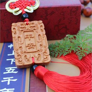 Wholesale 1PC Peach Wood Carving Car Pendant Amulet Hanging Peaceful Security Statue Sculpture Charm Jewelry Gift BBB0055