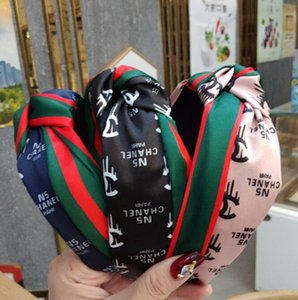 Wholesale Hot selling women headbands fashion hairband Wide edge fabric knotted headband retro monogram stripe clip factory price