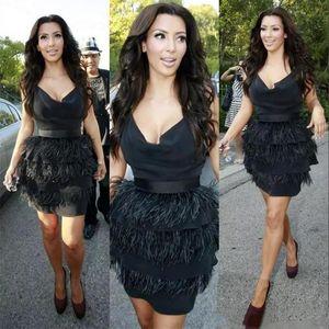 2021 Black Ostrich Feather Tiered Celebrity Dresses Women Formal Prom Dresses Knee Length robes de soirée
