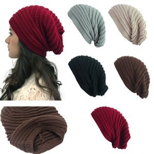 Wholesale Solid Oversized Slouchy Beanie Hats For Women Men Multi colors Designer Wool Cable Knit Cuff Beanie Caps In Winter