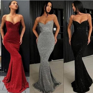 Wholesale Spaghetti Straps Party Dresses Sequined Ball Gowns Burgundy V-Neck Prom Dress Evening Graduation Dress Homecoming Robe De Soiree