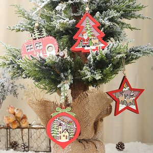 Wholesale LED Light Up Wooden Decorative Hanging Ornaments For Indoor Christmas Tree Party Bedroom Holiday Decoration Produtos De Natal