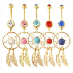 Gold Dream Catcher Feather Blue Stone Navel Piercing Jewelry Belly Button Rings Nickel-free 316L Surgical Steel Body Jewelry Christmas Gift