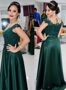 Wholesale Hunter Green Cap Sleeves Long Evening Dresses Lace Beaded Sheath Long Prom Gowns Floor Length Satin Mother Dresses Plus Size Customed