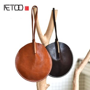 Wholesale AETOO Original design sense leather round hand bag small bag top layer leather coin purse Chinese national style personality