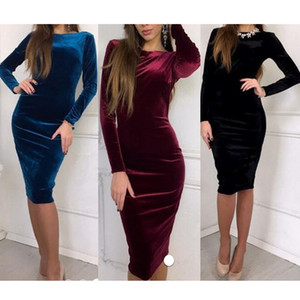 Wholesale Women Dress Fashion Autumn Winter Casual Bandage Velvet Bodycon Dress Women Vestidos Long Sleeve O Neck Evening Cocktai