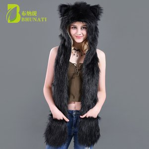 Wholesale 2018 black Hoods Cute Animal Faux Fur Hat Cap Women Lady Winter Stuffed Animal Hat Faux Fur Cute Cartoon Caps with gloves