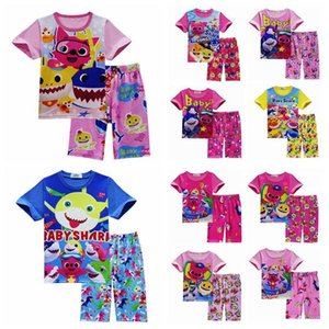 6d2eda717 Wholesale 11 Styles 2pcs set INS Kids Baby Shark Short Sleeve Pajamas Set  Cartoon Animal Shark