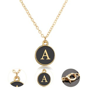 Wholesale Gold Metal Plated Letters Alphabet A Z Pendant Necklace Fashion B C D E F G H V Y X Necklaces Jewelry