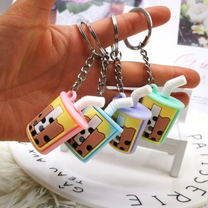 Creative Mini Soft Drink Keychain Coconut Milk Beverage Bubble Acrylic Soft Silica Gel Decompression Jewelry Gift