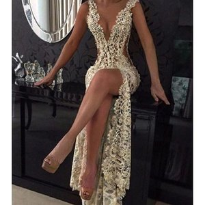 Champagne Sexy Plunging V Neck Tight High Split Evening Dresses Full Lace Side Cutaway Backless Prom Dress Beaded Party Gowns Maxi Wesr on Sale