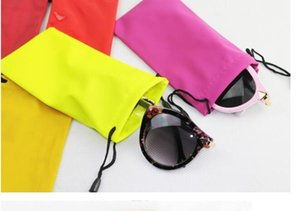Wholesale High Quality Candy Color Plastic Sunglasses Pouch Soft Eyeglasses Bag Glasses Phone bags Drawstring Sunglasses Cases