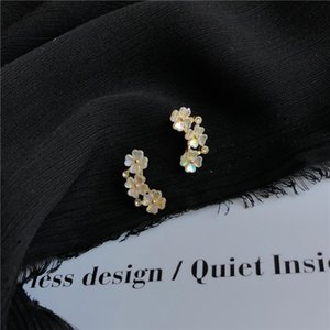 Wholesale earring stub resale online - Lexie Diary New S925 Silver Plated Stub Sweet Flower Earrings for Women Accessories Jewelry
