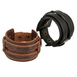 Wholesale 18 styles Hiphop Hippie Punk Retro Multiple Colour Real Leather Charms Wide Wrap Layers Bracelets Bangles For Man pksp8
