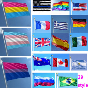 ingrosso mosca disegni-Arcobaleno Bandiere National Flag Design For World ft poliestere Battenti bandiera banner decorazioni Bisessuale Transqender pansexual HH9