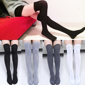 Wholesale 2018 new Sexy Stocking Pair Women Socks grey black Thigh High Warm solid Stockings Cotton Over the Knee Socks Long Stockings