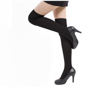 Wholesale Fashion Sexy Cotton Over The Knee Socks Thigh High Stocking Solid Color Black White Women s Stockings Knee High Socks Z0306