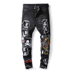 Wholesale New Brand Fashion Designer Men s Skinny Jeans Male Casual Distressed Ripped tiger Skull Embroidered Patches Stretch Denim Pants