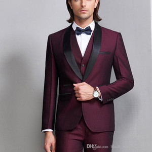 Wholesale Latest Design Handsome Wedding Suits Slim Fit Groom Tuxedos Formal Wears Shawl Lapel Groomsman Suits Jacket Pants vest Custom Made