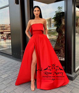 Sexy Red Plus Size Cheap Evening Dresses 2019 Strapless High Split Long Satin Simple Formal Celebrity Dresses Evening Party Prom Gowns on Sale