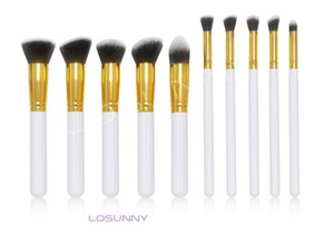 Wholesale LOSUNNY Wooden Handles Five Big Five Small Makeup Brush Set Eye Brush Foundation Brush Makeup Beauty Tools mm mink lashes